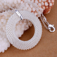 Free Shipping 925 Silver fashion jewelry Necklace pendants Chains, 925 silver necklace Network circle pendant blia huuw