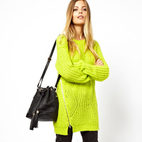 Haoduoyi lemon green side zipper medium-long wool sweater needle o-neck pullover dress