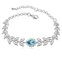Fashion Platinum Plated Blue Austrian Crystal Leaves Bracelet For Women Free Shipping