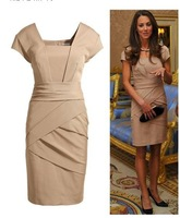 Free Shipping 2012 Beige kate formal celebrity dress kate formal nude color British Princess Kate same style slim women's dress