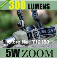 NEW 5W Zoom CREE Q3 LED Head waerproof FlashLight TORCH Headlamp Free Shipping