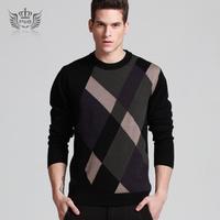100 wool Men 2013 male fashionable casual wool  pure sweater men's o-neck sweaters male Plus size XXL