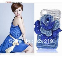 Free shipping DIY stereo cartoon Handmade diamond Crystal Cover Blue Purple roses case for iphone4/4S/5 smart housing