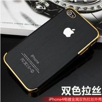 New Arrival Hard Aluminum Brush Metal Case For iphone 4 4S iphone 4G,Matte Cases,Luxury Cover