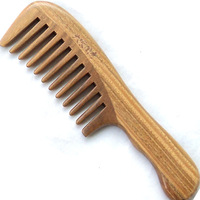 Natural green sandalwood combs sandalwood comb lettering anti-static health comb