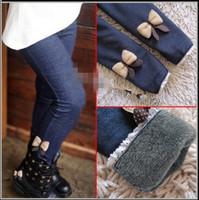 Wholesale 5pcs/lot 2013 kids girls winter warm jeans bownot pants, cotton cashmere pants,elastic waist legging