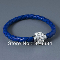 FREE SHIPPING !!! (10pcs/lot) 2013 hot fashion fluorescence color PU leather bracelet with magnetic clasp Shamballa bracelet