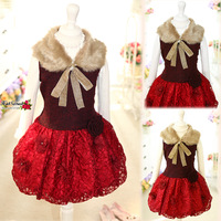Free Shipping 2013  Luxury Lace With Fur Collar Girls' Dresses Children's One-piece Dress Ball Gown Winter  Princess Dresses
