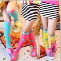 2013 hot-sell  20 pairs / lot 5 colors cotton children in tube socks / high socks / wild candy princess unrooted all-match socks