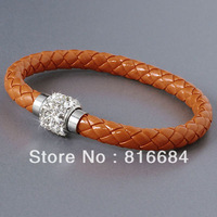 FREE SHIPPING !!! (10pcs/lot) Orange Stingray Leather Bracelet Magnetic crystal clasp