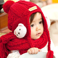 Bear baby hat scarf twinset knitted child hat knitted hat muffler scarf winter male female child winter hat