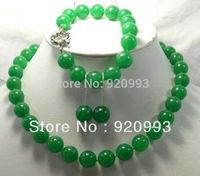 free P&P*******Charming jewelry 12mm green jade necklace bracelet earrings set