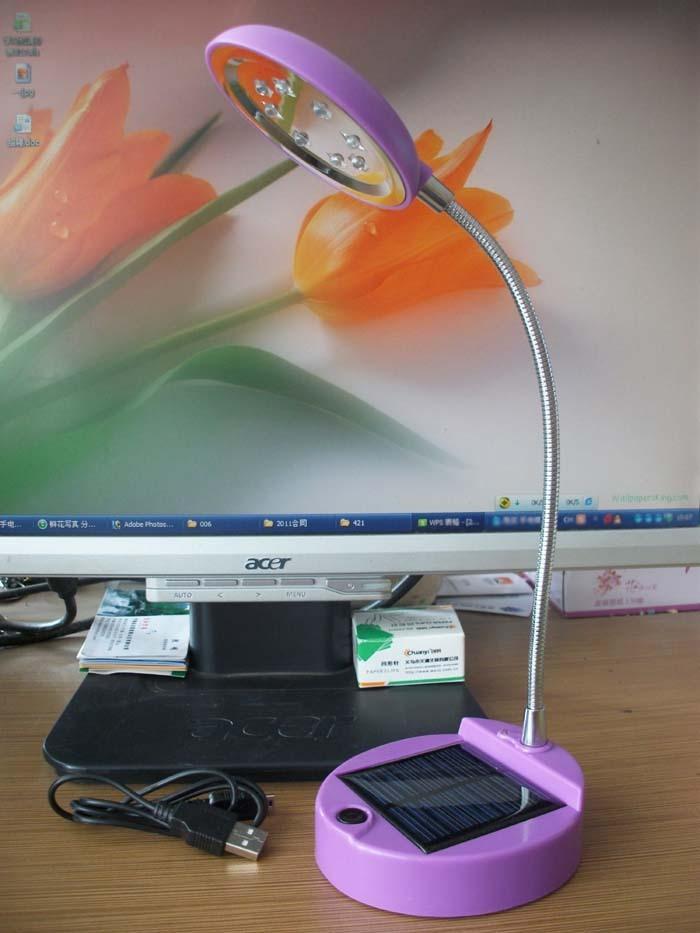 Super bright solar lamp 8led usb charge led reading light usb eye lamp(China (Mainland))