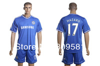 Factory price 2013/14 Chelsea blue Home 17# HAZARD jersey Soccer jersey + shorts Soccer uniform Free shipping Size:S- XL