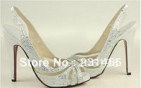 crystal shoes for wedding ceremony women high heels