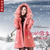 free shipping 2013 winter women's rabbit fur thickening woolen outerwear female medium-long wool coat