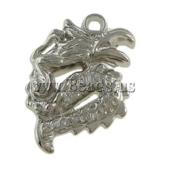 Free shipping!!!Copper Coated Plastic Pendant,Trendy, Dragon, platinum color plated, nickel, lead & cadmium free, 30x42x7mm