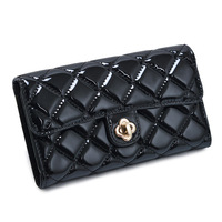 Free shipping for Women's long design wallet fashion plaid fashion patent leather wallet summer new arrival