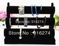 New Black 3-Tier Velvet Watch Bracelet Jewelry Display Stand Holder Rack