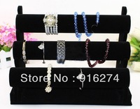 New Black 3-Tier Velvet Watch Bracelet Jewelry Display Stand Holder Rack