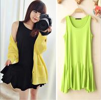2013 women's modal sleeveless vest basic loose one-piece dress pleated irregular