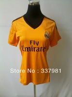 Free Shipping  2013-2014 best Thai Quality Real Madrid women shorts Soccer Shirts sportswear women color  orange