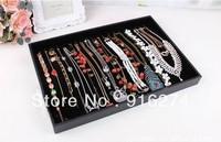 Black velvet leather 20 bracelet necklace jewelry display box jewelry box shelves