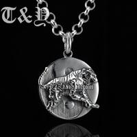 T & y silver pure silver 925 pendant thai silver round tiger male pendant