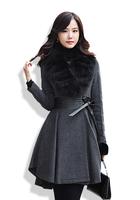 free shipping  spring fox fur slim medium-long woolen trench overcoat female woolen outerwear