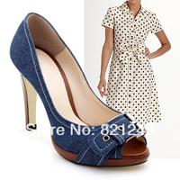Denim metal platform high-heeled open toe women's shoes thin heels soft leather sweet blue black PU