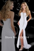 New Arrival 2013 Custom Made Cheap Floor-length Asymmetrical Beading Empire Mermaid Slit Prom Dress White Evening Dress