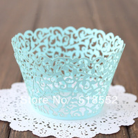120pcs blue Laser-cut Lace Cake Wrapper Cupcake Wrapper(set of 120) free shipping party baby shower home decoration H163