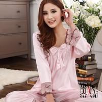 Plus size faux silk sleep set lace twinset female long-sleeve lounge