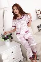 Send mom spring and summer women's plus size short-sleeve cardigan sleepwear faux silk set plus size female sleepwear