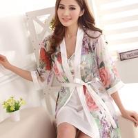 Women's print chiffon robe sexy twinset lounge thin summer sleepwear