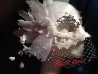 2013 New arrival Luxury ladies white feather lace rhinestone veil mask bride of the mask halloween mask
