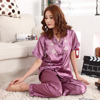 Women's short-sleeve embroidered small lapel sleepwear plus size set sleepwear lounge