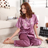 Women's short-sleeve embroidered small lapel sleepwear plus size set sleepwear lounge