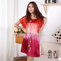 Women's o-neck print faux silk nightgown sleepwear lounge