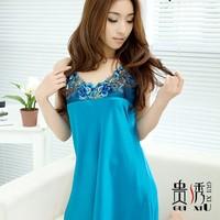 Sexy silk women's nightgown spaghetti strap solid color summer sleepwear faux silk sleepwear lounge