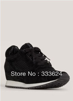 free shipping 2013 ash sneakers for women high-top punching breathable ladies small wedges shoes Height Increasing Fashion Boots