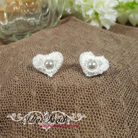 Ula bride sweetheart little princess pure white pearl of love earring stud earring