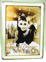 30*40CM 2013 Wall New York City Breakfast Audrey Hepburn Actress UK Iron Painting Pub Bar Decor Cinema Poster
