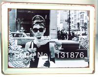 30*40CM Hot Sale Film Wall Audrey Hepburn Actress UK Iron Painting Pub Bar Decor Cinema Poster
