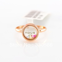 Italina letters 18k rose gold plated Austrian colorful crystal ring female influx people fashion female