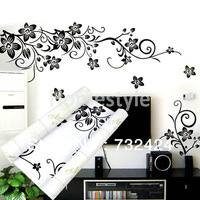 Hot Selling Wall Decal DIY Decoration Fashion Romantic Flower Wall Sticker Home Sticker Black 6459