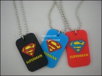 """Superman Dog Tag Necklace, Fashion Pendant Necklace with 24"""" Ball Chain, 3Colours, 50pcs/Lot, Free Shipping"""