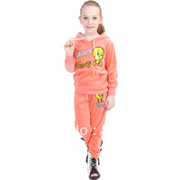 2013 Autumn Clothing sets Children outerwear Sport girls clothes twinset long-sleeve cotton velvet set