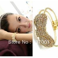 SZ108 Korean fashion jewelry wholesale shiny bow full of diamond drill claw simple spring openings bracelet