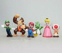 10set High Quality 2int PVC Super Mario Bros Luigi donkey kong Action Figures 6pcs/set youshi mario Gift OPP